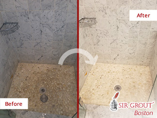 Before and after Picture of This Bathroom in Dedham, Massachusetts