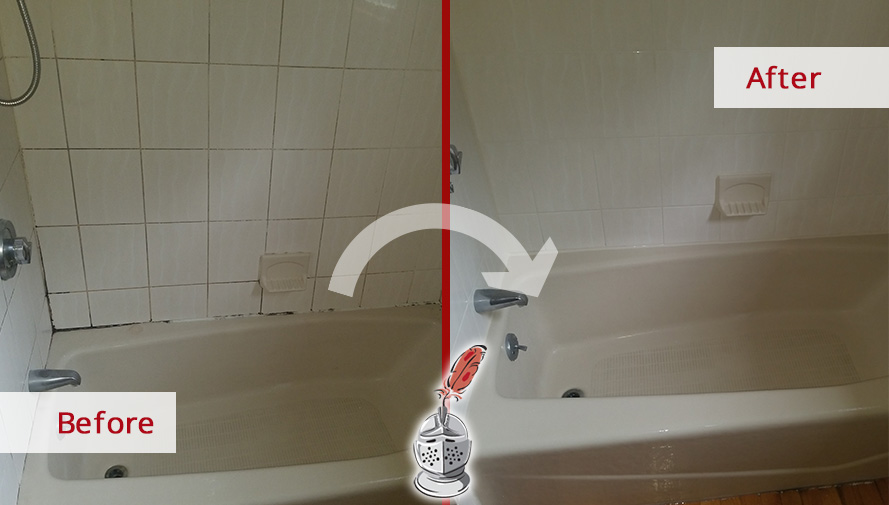 Before and after Picture of This Bathroom in Burlington, Massachusetts after a Grout Caulking Service