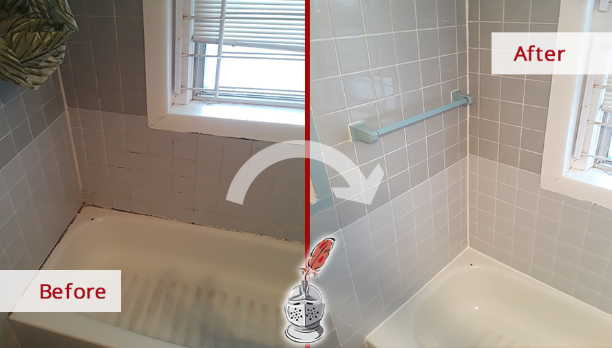 Before and after Picture of a Grout Caulking Service in Brookline Village, MA