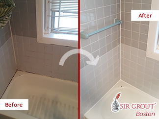 Before and after Picture of This Moldy Bathroom after Our Caulking Services in Brookline Village, Massachusetts