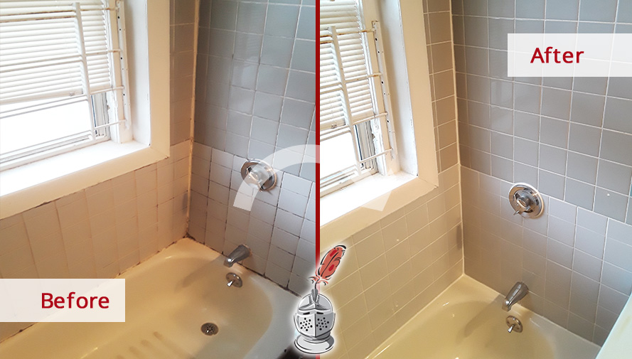 Before and after Picture of This Moldy Bathroom after Our Caulking Services in Village, Massachusetts