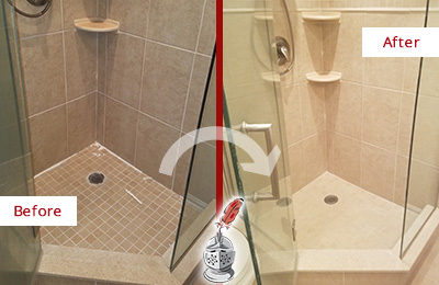 Picture of a Tan Tile Shower with Caulking Peeling Off Before and After a Tile Recaulking Service