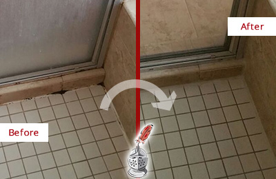 Before and After Picture of a Grout Recaulking on the Floor Joints