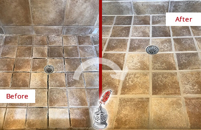 Before and After Picture of Shower Grout Cleaning and Sealing on a Shower with Mold and Mildew