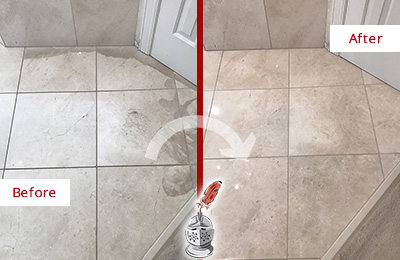 Before and After Picture of Stone Floor Honed to Remove Etching