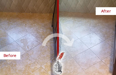 Picture of Stone Floor Before and After Honing to Remove Stains