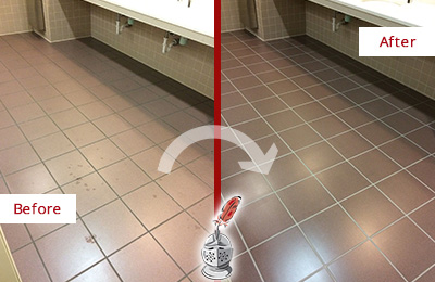 Before and After Picture of a Billerica Restrooms Tile and Grout Cleaned to Remove Embedded Dirt