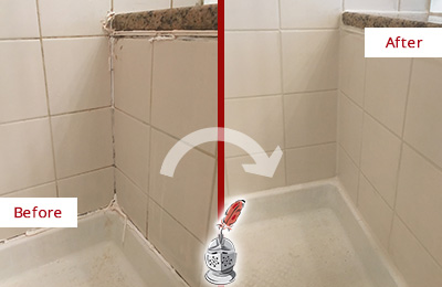 Before and After Picture of a Beverly Shower Caulked to Repair Damaged Caulking