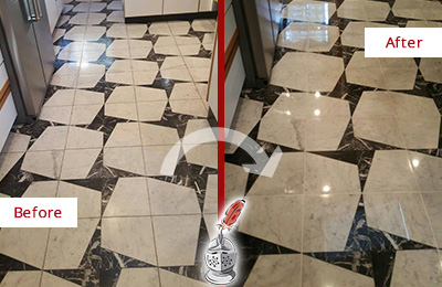 Before and After Picture of a Dull Newton Center Marble Stone Floor Polished To Recover Its Luster