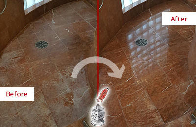 Before and After Picture of a Belmont Marble Stone Shower Polished to Eliminate Mineral Deposits