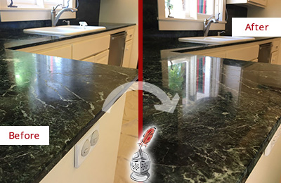 Before and After Picture of a Newton Center Marble Stone Counter Polished to Eliminate Water Marks