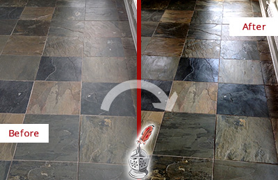 Before and After Picture of a Dull Boxford Slate Floor Sealed to Bring Back Its Colors