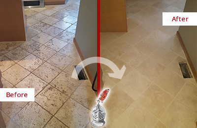 Before and After Picture of a Lowell Kitchen Marble Floor Cleaned to Remove Embedded Dirt