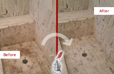 Before and After Picture of a Dirty Humarock Marble Shower Cleaned to Eliminate Dark Stains