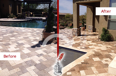 Before and After Picture of a Dull Humarock Travertine Pool Deck Cleaned to Recover Its Original Colors