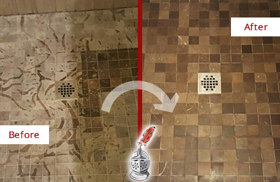 Before and After Picture of a Stained Humarock Marble Shower Floor Cleaned to Remove Etching