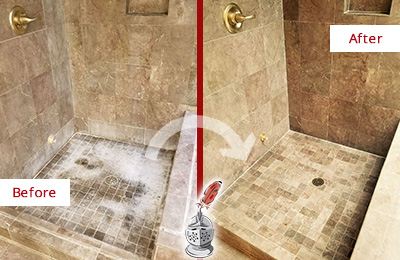 Before and After Picture of a Lowell Travertine Shower Cleaned to Eliminate Water Spots