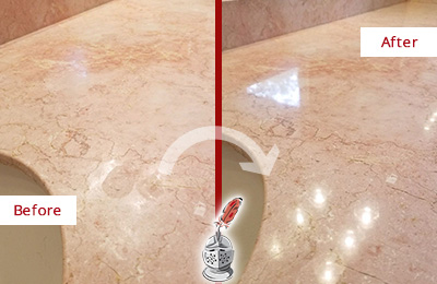 Before and After Picture of a Medway Marble Stone Vanity Top Sealed to Avoid Water Marks