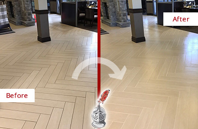 Before and After Picture of a Nutting Lake Hard Surface Restoration Service on an Office Lobby Tile Floor to Remove Embedded Dirt
