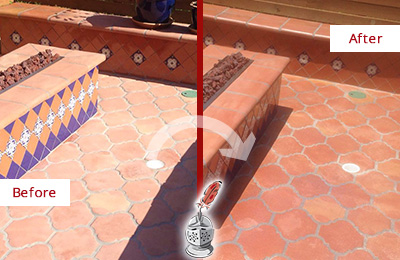 Before and After Picture of a Boylston Hard Surface Restoration Service on a Dull Terracotta Patio Floor to Recover Its Color