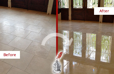 Before and After Picture of a Merrimac Hard Surface Restoration Service on a Dull Travertine Floor Polished to Recover Its Splendor