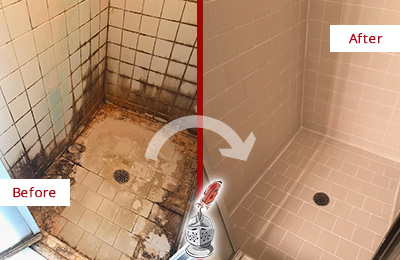 Before and After Picture of a Whitman Hard Surface Restoration Service on a Tile Bathroom to Repair Water Damage