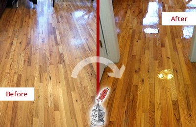 Before and After Picture of a Whitman Hard Surface Restoration Service on a Worn Out Wood Floor