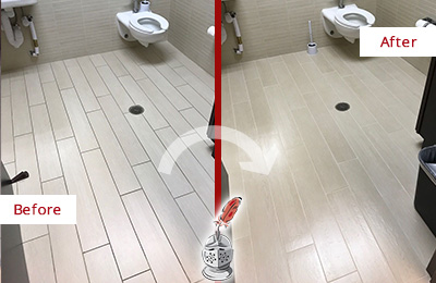 Before and After Picture of a Milton Village Office Restroom's Grout Cleaned to Remove Dirt