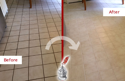 Before and After Picture of a Maynard Kitchen Tile Floor with Recolored Grout