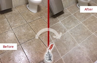 Before and After Picture of a Maynard Office Restroom Floor Recolored Grout