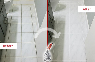 Before and After Picture of a Beverly White Ceramic Tile with Recolored Grout