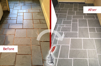 Before and After Picture of Damaged Cohasset Slate Floor with Sealed Grout