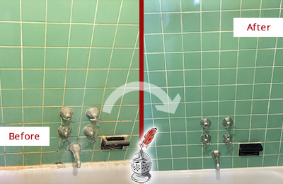 Before and After Picture of a Cohasset Bath Tub Grout Sealed to Avoid Water Damage