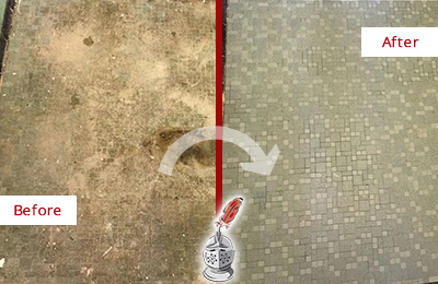 Before and After Picture of a Dracut Mosaic Shower Cleaned to Eliminate Embedded Dirt