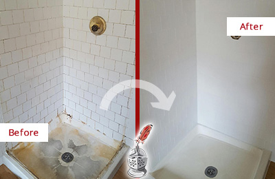 Before and After Picture of a Dracut Shower Cleaned to Eliminate Mold