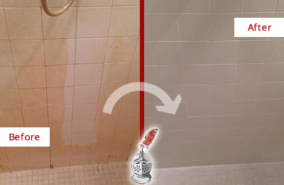 Before and After Picture of a Dracut Porcelaine Shower Cleaned to Remove Soap Scum